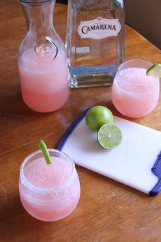 Pink Grapefruit Margaritas From: Barefoot Contessa's How Easy Is That 1 cup ruby red grapefruit juice 1/2 cup fresh squeezed lime juice (about 4 limes) 1 cup triple sec orange liqueur 3 cups ice 1 cup silver tequila 1 lime cut in wedges, optional Kosher salt salt rim or sprinkle a touch of salt in each glass, the salt really brings out the flavor.