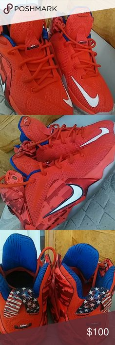 Nike lebrons james 12 independence day!!size 4 😍 in love with them ❤Red white and blue with design's size 4 worn twice practically new I don't have many clothes to match with these but they are in great condition! SORRY PRICE IS FIRM! Nike Shoes Sneakers