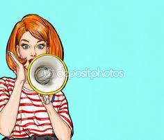 Fille de pop art avec mégaphone. Femme avec haut-parleur. Jeune fille annonçant des rabais ou la vente. Temps d'achats. Protestation, réunion, féminisme, droits de la femme, protest femme, power girl. Pop art fond, offre spéciale