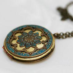 Collier médaillon de bleu turquoise bijoux par emmalocketshop