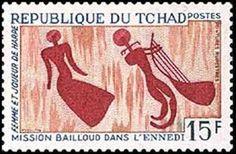 Femme et joueur de la harpe, République du Tchad