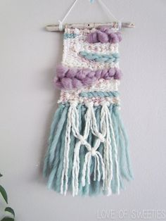 Weaving Wall Hanging // MERMAID TAILS Hand Woven by LoveOfSweeties
