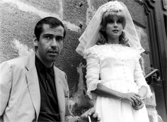 "Roger Vadim  and Catherine Deneuve  anuary 1962, the wedding scene of the film ""Le Vice et la Vertu"",  ©Getty Images  via vogue.it"