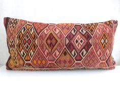 Hand embroidered Kilim Lumbar Pillow Turkish by PillowTalkOnEtsy, $58.00
