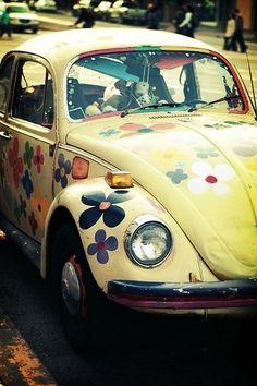 flower bug! I love this car!!!  I've always wanted a slug bug. lol. www.DirtyLovingHippies.com