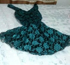 Chifon and green flowers lace black dress
