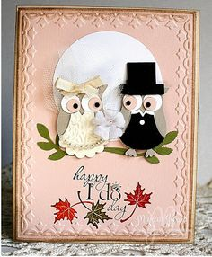 A Owl Fall Wedding CARD by Studio M - Cards and Paper Crafts at Splitcoaststampers Vickie Hooker punch art Full photograph of my owl wedding card Playing along with the Less is More gals for Glamour & Glitz challenge this week but my card m Owl Wedding, Cupcake Wedding, Wedding Band, Owl Punch Cards, Wedding Cards Handmade, Owl Card, Engagement Cards, Wedding Anniversary Cards, Bird Cards