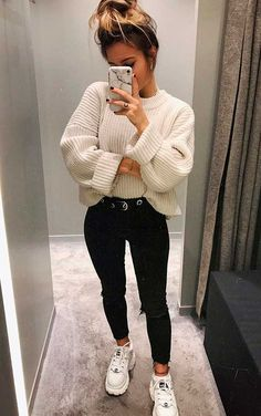 152 charming fall street style outfits inspiration to make you look cool this season page 6 Teen Winter Outfits, Teen Fashion Outfits, Mode Outfits, Spring Outfits, Trendy Outfits, Classy Outfits, Chic Outfits, Winter Clothes, Holiday Outfits