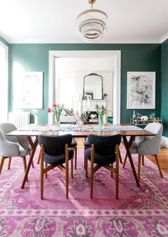 Dining-room set the phase for numerous unique occasions, so why not develop a deserving background? Locate motivation with these vibrant dining room paint colors ideas. Dining Room Paint Colors, Dining Room Design, Dining Rooms, Dining Chairs, Rug Under Dining Table, Comedor Office, Rooms Home Decor, Room Decor, Küchen Design