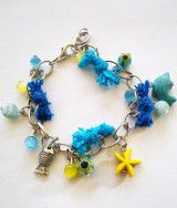 Yellow and Turquoise Chain Beaded Bracelet