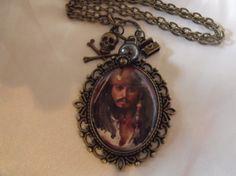 Captian Jack Sparrow Image Pendant Necklace Black by AGothShop, $15.00