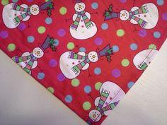 Dog Bandana/Scarf Tie On Christmas Red Snowmen Custom Made by Linda XS,S,M,L #CustommadebyLinda