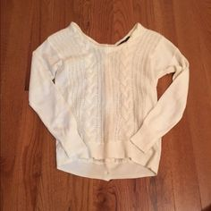 Adorable back button LIMITED sweater knit style. Button all the way up the back. Cream in color. Like new.  Awesome deal and a great winter addition The Limited Sweaters Crew & Scoop Necks