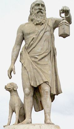 (Sinoplu Diyojen) Diogenes of Sinope. Searched Athens for an honest man. None found.