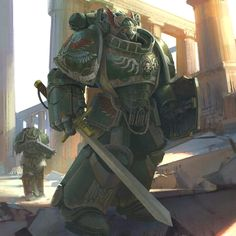Space Marine by hammk Warhammer Dark Angels, Dark Angels 40k, Warhammer 40k Art, Warhammer 40k Miniatures, Warhammer Fantasy, Salamanders Space Marines, Sci Fi Fantasy, Marvel, Cool Artwork