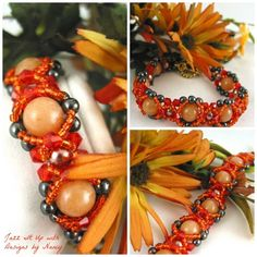 Bracelet Handmade Beaded Bangle Orange Swarovski Peach Aventurine. Stunning Peach Aventurine gemstone beads are surrounded by copper glass round pearls, orange seed beads, orange Swarovski Crystals bicones and Hematite rounds. This is a layered effect bracelet and actually could be worn on either side. Layered side has the seed bead embellishment around the beads and back side is without. Both are equally elegant and rich!
