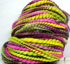 HandSpun Yarn Bulky 2ply Yarn merino wool and silk by kittygrrlz, $43.00