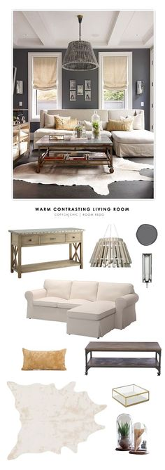 A warm and contrasting living room featured on Better Homes & Gardens recreated for less by Copy Cat Chic