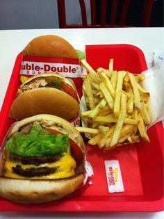 In N Out Double Doubles w/ Fries    Not a fan of the fries but love the burgers