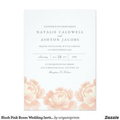 "Blush Pink Roses Wedding Invitation 5"" X 7"" Invitation Card #zazzlemecrazy"