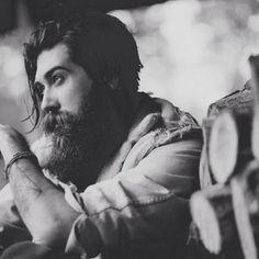 Lane Toran - full thick dark beard and mustache long hair beards bearded man men mens' style #beardsforever