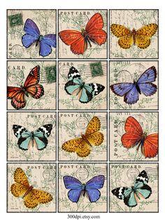 butteflies 2.5 inch Vintage Printable Tags Background por 300dpi