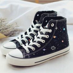 Ctyle:casual Material:canvas Colour:black Size+here: please+check+your+foot+length,+choose+the+size+what+you+take! Tips: *Please+double+check+above+size+and+consider+your. Painted Jeans, Painted Clothes, Painted Sneakers, Painted Shoes, Black Canvas Shoes, Cute Canvas, Aesthetic Shoes, Hype Shoes, Shoe Art