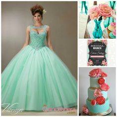 Mint Themed Quinceanera   Quinceanera Ideas  