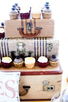 Athena & Branden's Super Stylish, Whimsical & Vintage Wedding Day Cupcake Table, Cupcake Display, Cupcake Stands, Vintage Suitcases, Vintage Luggage, Chic Wedding, Wedding Day, Cupcake Arrangements, Donuts