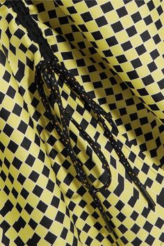 KÉJI - Gathered Printed Silk-twill Skirt - Yellow - FR