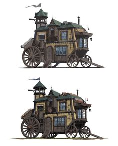 Gestani (Roma) wagons!!!! What if these Planeswalkers lived and traveled in steampunk/arcane versions of Howl's Moving Castle!?!? Excellent.