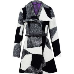 Desigual Sidney wool coat ($225) ❤ liked on Polyvore featuring outerwear, coats, jackets, coats & jackets, casacos, black, clearance, wool overcoat, color block coat and desigual coat