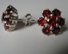 4.84CTW Genuine  garnet in 925 sterling silver stud earrings