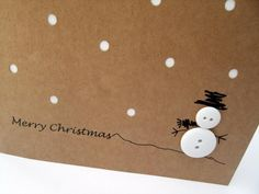 Set of 4 Christmas Cards - Button Snowman - Paper Handmade Greeting Card - Christmas Card - Christmas Card Pack - This cute and simple design features a button snowman with a hand drawn hat, arms and Christmas gre - Christmas Card Packs, Homemade Christmas Cards, Christmas Makes, Xmas Cards, Christmas Snowman, Diy Christmas Gifts, Christmas Greetings, Homemade Cards, Handmade Christmas
