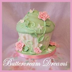 Mint green and pink dreamy cupcake - flowers & butterflies.