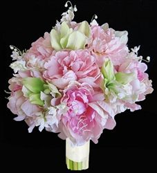 Specialty Pink Peonies and Natural Touch Green Cymbidiums Bouquet