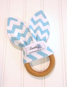 Natural Wood Teething Ring/Cotton Front/Organic by SweetbugStudio, $11.00