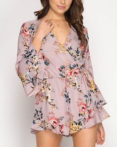 A blush colored woven romper featuring ruffled long sleeves, pretty dainty floral print, and front tie. Belted Shirt Dress, Romper Outfit, Tee Dress, Floral Romper Long Sleeve, Long Romper, Cute Rompers, Fit Flare Dress, Spring Outfits, Plus Size Fashion