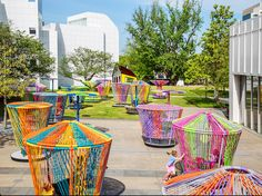 "Mexican designers Héctor Esrawe and Ignacio Cadena created ""Los Trompos,"" a site-specific installation at the High Museum of Art in Atlanta, Georgia."