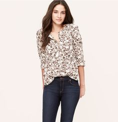 Autumn Floral Collarless Utility Blouse | Loft
