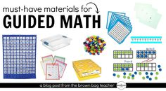 "Guided Math is a structure for organizing your math block that involves mini-lessons, targeted small-group instruction, and opportunities for spiral review through math workshop. Like guided reading, guided math offers us, as teachers, the opportunity to intentionally group students based on skill and to carefully target specific skills. So often I'm asked – ""What materials..."