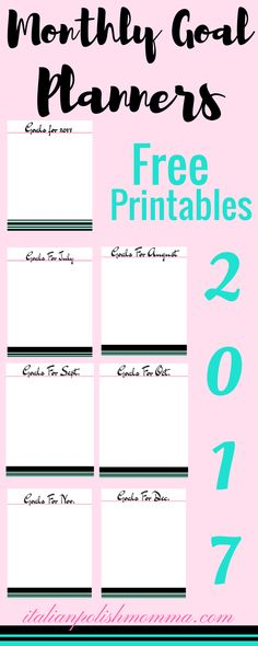 Here is a free 8 page monthly goal planner printables to help you crush your goals for 2017!
