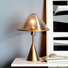 Tinted Glass Table Lamp, Champagne