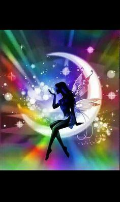 Beauty Diamond Embroidery Painting Cross Stitch DIY Art Craft Home Decor Drop shipping Unicorn And Fairies, Rainbow Fairies, Fairy Land, Fairy Tales, Fairy Wallpaper, Fairy Silhouette, Moon Fairy, Fairy Pictures, Beautiful Fairies