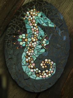 Mosaic seahorse | Mosaic Seahorse Art with Beads and Stained Glass by mjirvine