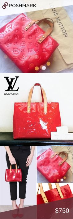 Louis Vuitton AUTHENTIC Reade PM Red Bag ⏩MI0032, made in France  ⏩The cutest bag in my collection! Very adorable with the most beautiful shade of red ever ⏩Complete set, comes with tag, material card & booklet ⏩Open top & 1 interior pocket ⏩VGUC, beautiful patina on handle. The exterior vernis is clean and in great condition, however there is color transfer especially at bottom ⏩Scuffs on corner. Interior is clean. Minor creasing & wear on the strap. Overall this bag is gently carried & in…