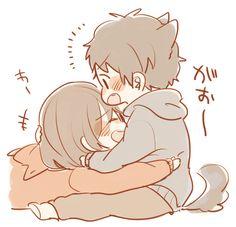 Cute Chibi Couple, Couple Cartoon, Cute Anime Pics, Cute Anime Couples, Kawaii Drawings, Cute Drawings, Pencil Drawings, Anime Chibi, Kawaii Anime