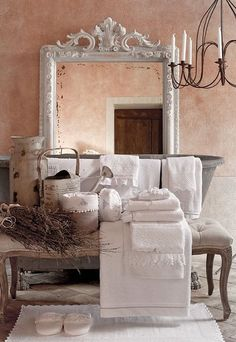 I love country chic Country Chic, French Country, French Decor, Luxury Homes, Oversized Mirror, Sweet Home, Shabby Chic, Relax, Home And Garden