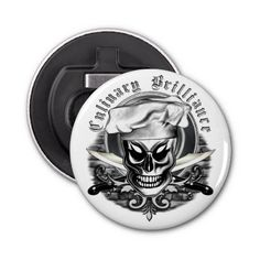 Custom Chef Skull Bottle Opener Button Bottle Opener: Visit www.zazzle.com/thechefshoppe to see the entire line of Skull Chef's, featuring 9 different culinary themed skulls, each with their own personality.