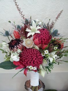 Native wildflower bouquet with Waratahs for a bush wedding.